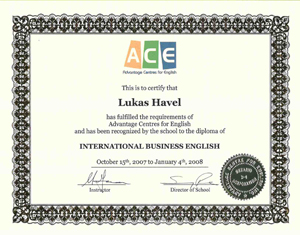 Certifikát Business English Diploma